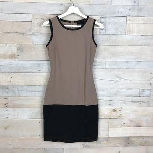 Cynthia Rowley Tan Black Colorblock Dress XS